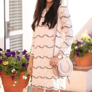 Baby pink lace shift dress from maggylondon